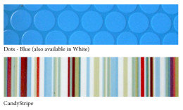 Vinyl Blue dots + candy stripe